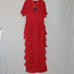 NWT PrettyLittleThing Red Maxi Dress Size 12
